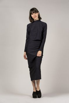 L/S Mock Neck Tee, Black by Suzanne Rae #kickpleat #suzannerae