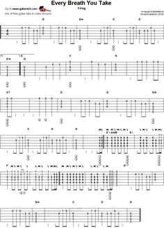 Every Breath You Take - flatpicking guitar tablature