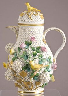 "Meissen Porcelain Manufactory (Germany) — Snowball Schneeballen Coffee Pot, H:11,25"", Mid 19th Century (565x800)"