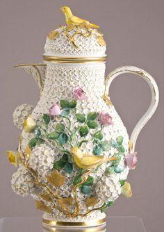 "Meissen Porcelain Manufactory (Germany) — Snowball Schneeballen Coffee Pot, H:11,25"", Mid 19th Century (565x800)"