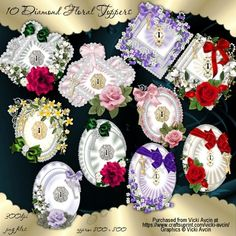 CUP894597_543 - These designer resources are for using as toppers for your cards. They feature diamond shapes with a variety of flowers...