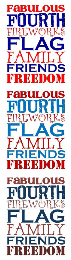 Free Fabulous Fourth Printables - 3 Color Choices | #4thofjuly #independenceday #printable