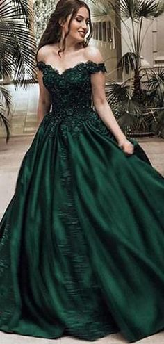 612c176991 Off Shoulder Dark Green A-line Long Evening Prom Dresses