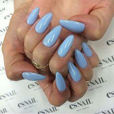 Nails winter Himmelblaue Nagel 2018 Sky Blue Nails 2018 to Sky Blue Nails, Almond Acrylic Nails, Almond Nails, Pastel Blue Nails, Es Nails, Nails 2017, Stiletto Nails, Matte Nails, Nagellack Trends