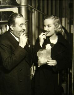 fuckyesoldhollywood:  Carole Lombard and Walter Connolly (I think this was on the set of 'No More Orchids', one of my favorite Carole pre Codes…She was in a bunch of awesome pre Code movies that are hard to find but really worth watching!).