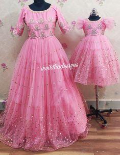 Baby Girl Dresses Diy, Baby Girl Frocks, Frocks For Girls, Girls Dresses, Anarkali, Lehenga, Mom Daughter Matching Dresses, Clay Ganesha, Gown Party Wear