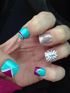 Nails 2014 sparkly nails nail designs turquoise purple