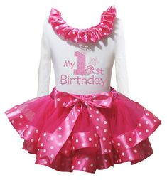Petitebella My 1st Birthday White L/s Shirt Dots Hot Pink Petal Skirt Nb-8y (1-2 Years). a shirt, a skirt. made by lightweight material. stretchy and comfortable cotton shirt. 4-layers fantastic skirt. outfit in my 1st birthday design.