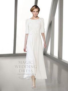 £305 Long Sleeves Flower Decorated Simple Wedding Dress in http://www.magicweddingdress.com/long-sleeves-flower-decorated-simple-wedding-dress-mwd223-p-330/.