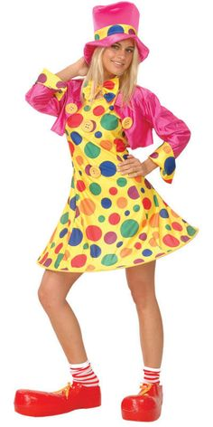 This comical and colourful fancy dress costume is great for transforming yourself into a Lady clown and is sure to have your friends and fellow party goers in hysterics.  #circus