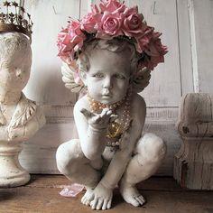 White distressed cherub statue w/ handmade pink rose crown romantic cottage chic angelic figure embellished home decor anita spero design