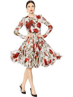 DOLCE  amp  GABBANA - ROSE PRINTED SILK CHIFFON DRESS - LUISAVIAROMA -  LUXURY SHOPPING WORLDWIDE 2563b3fb4d397