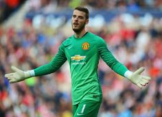 David De Gea of Manchester United gestures during the Barclays Premier League match between Sunderland