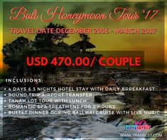 Plan your next Valentine's Day with this Affordable Bali TraveLovers Travel-Tours for USD 470.00/COUPLE Valid for Travel Date: January - March 2017 Inclusions: 4D3N Hotel Stay with Daily Breakfast Round Trip Airport Transfer TANAH LOT TOUR with LUNCH Romantic Spa Treatment for 2 Hours Buffet Dinner during BALI HAI CRUISE with Live Music #bali #indonesia #trip #travel #tour #package #2017 #promo