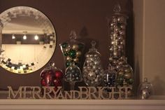 glass jars filled with ornaments