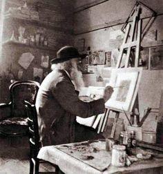 Camille Pissarro in his studio at Eragny, about 1897.