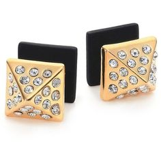 Marc by Marc Jacobs Pyramid Two-Sided Stud Earrings (90 CAD) ❤ liked on Polyvore featuring jewelry, earrings, apparel & accessories, rhinestone stud earrings, post earrings, rhinestone earrings, double sided stud earrings e gold tone earrings