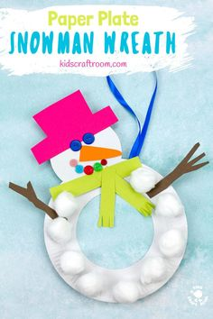 This Paper Plate Snowman Wreath is adorable! With button eyes and a cheeky smile no-one will be able to resist!This simple paper plate snowman craft is a great Christmas and Winter craft. Hang them on the door, window or wall for some snowman craft fun! #winter #snowman #wreath #paperplate #kidscrafts #wintercrafts #christmascrafts #christmas #paperplatecrafts #preschool #toddlers #kidscraftroom via @KidsCraftRoom