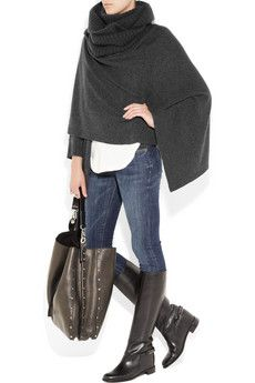 Need to try this with my red wool cloak + jeans + boots + great handbag = LOVE
