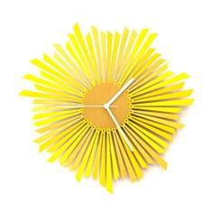 Wooden wall clock 'The Sun'  - material: plywood - color: yellow / gold - diameter: 41cm - price: 119USD + shipping