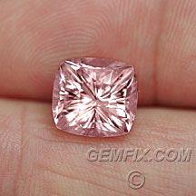 Flashy light pink tourmaline, concave cut cushion. 4.59 cts.
