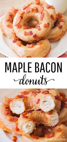 Maple Bacon Donuts - Soft and fluffy donuts topped with a sweet maple glaze and savory bacon crumbles. So easy to make and ready in just 30 minutes! Bacon Recipes, Donut Recipes, Best Breakfast, Breakfast Recipes, Breakfast Ideas, Savory Donuts Recipe, Maple Bacon Donut, Making Donuts, Apple Cider Donuts