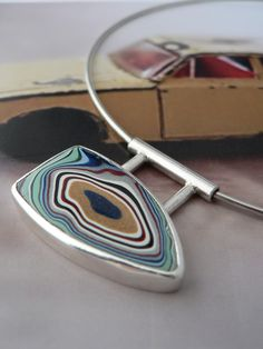 Fordite Pendant on Sterling Silver Choker 2 by KirstyMuirJewellery, £95.00