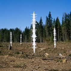 The white forms in these photographs are the sculptural manifestations of audio footage that was recorded along the border between Russia and Finland. Here the unique old-growth forests stand, The Green Belt of Fennoscandia.