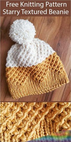 Free Knitting Pattern for Starry Textured Beanie Hat - 2 color pompom hat knit with the star or daisy stitch with a zigzag brim. Designed by Kristin Baird. knit hat Free Knitting Pattern for Starry Textured Beanie Hat Beanie Knitting Patterns Free, Easy Knitting, Knitting For Beginners, Knitting Stitches, Knit Patterns, Start Knitting, Knitting Ideas, Knitted Headband Free Pattern, Knitting Yarn