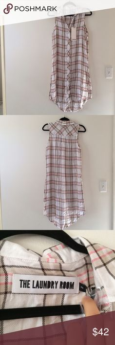 The Laundry Room Button Down Plaid Dress Perfect paired with sneakers. Super soft polyester/rayon blend. Rounded hem with side slits. Brand new with tag! The Laundry Room Dresses
