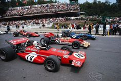itsawheelthing: downhill … the old downhill start during the 1970 Belgian Grand Prix, the last time a F1 race started on the old pit straight, from 1983 onwards all F1 races would start on the straight between Bus Stop & La Source, where the new pits were located Jacky Ickx appreciation week …