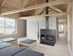 a minimalist home is built into steep terrain in an austrian valley, wood house minimalist living rooms Minimalist Architecture, Minimalist Interior, Minimalist Living, Minimalist Bathroom, Minimalist Apartment, Minimalist Lifestyle, Minimalist Decor, Modern Minimalist, Living Room Modern