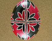 Pysanky Ukrainian Easter Egg Red Tulip Opposites Hand Decorated Chicken Egg