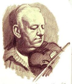 Irish Fiddler Paddy Reynolds, pencil.