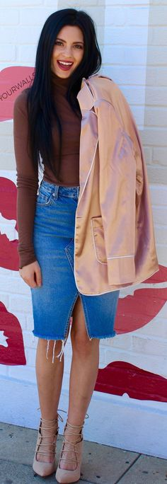 Brown Knit / Denim Open Skirt / Beige Laced Up Pumps