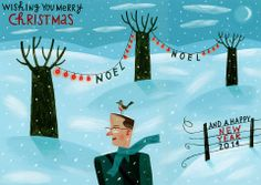 Christmas / New Year card - acrylic on paper - John Montgomery www.johnmontgomeryillustrator.com