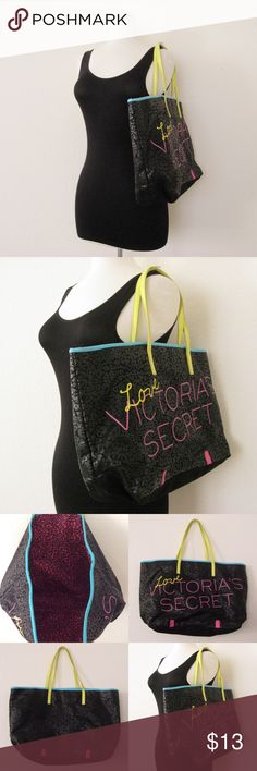"""Victoria's Secret Tote Bag VS Victoria's Secret Tote Bag. Pre-owned in good condition. Has normal signs of use. Pink PU leather on the bottom has STAIN mark. Inside lining has dried GLUE STAIN. Please see photos carefully before buying. Sold as is! Dimensions : 11""""H x 19"""" W x 5""""D, 7"""" Strap drop ⚜❌SWAP❌TRADE ⚜ ✔️❤️Bundles ⚜✔️Smoke-free/pet-free home Victoria's Secret Bags Totes"""