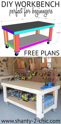 A workbench is a must-have when starting your own workshop! This DIY workbench is the perfect build for beginners. You only need the 3 basic tools, that we suggest starting your workshop with, to build this. It's easy to build, it's great for storage. Used Woodworking Tools, Beginner Woodworking Projects, Popular Woodworking, Woodworking Furniture, Woodworking Crafts, Woodworking Plans, Woodworking Classes, Woodworking Techniques, Furniture Plans