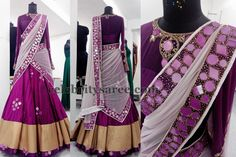 Purple Mirror Work Half Saree | Saree Blouse Patterns