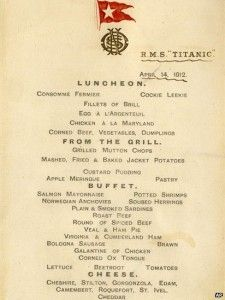What was on the Titanic menu ?  i dont know, but charles joughin does!