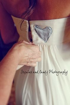 A piece of dad's blue work shirt sewn into the bridal gown or a grandpa that was important or has passed on. literally the sweetest thing | ...