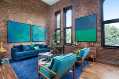 Love the artwork, the color combination, the windows, the brick walls and the ceiling height. Home in Brooklyn by Bold New York Design Simple Living Room, Coastal Living Rooms, Home Living Room, Living Room Designs, Living Room Decor, Turquoise Furniture, Industrial Interior Design, Living Room Remodel, New Homes