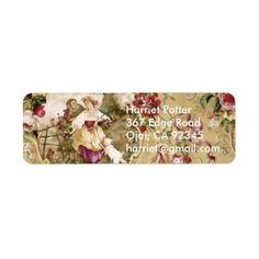 Victorian Floral Wallpaper Label