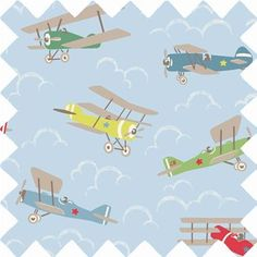 An ideal print for kids rooms, this design features multicoloured vintage planes against a cloudy sky background. This fabric is ideal for use as: *Curtains *Cushion Covers *Craft *Upholstery