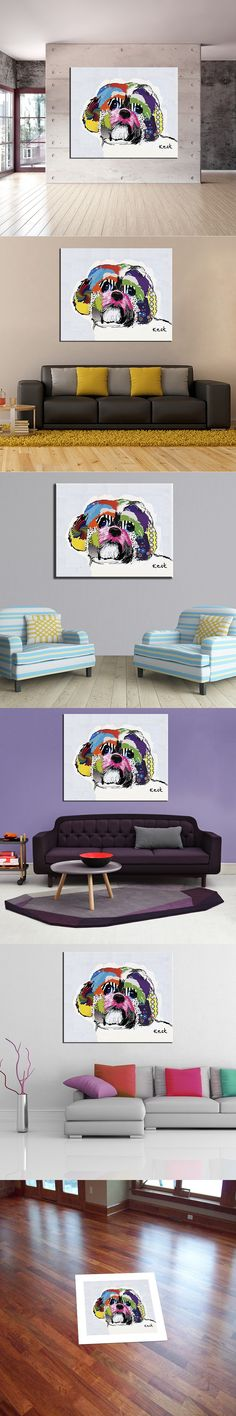 Shih Tzu house paint and wall painting for home decor idea oil painting art print on canvas No Framed picture! House Painting, Painting Art, Canvas Prints, Art Prints, Shih Tzu, Oil, Frame, Modern, Pictures