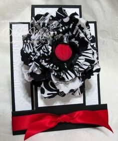 Fabric Flower pin with matching center step card, Debbie Naylor