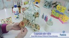 Decoupage y Craquelado sobre Vidrio, reciclá envases de vidrio, técnica ... Polymer Clay Tools, Decoration, Ideas Para, Bottle, Simple, Projects, Glass, Crafts, Diy