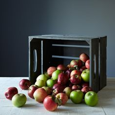 Large Replica Apple Crate with Handles, Gray Wash on Provisions by Poems About Food, Hard Apple Cider, Apple Crates, Apple Season, Shed Design, Wood Sizes, Grey Wash, Food 52, Plant Holders