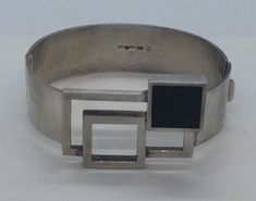 Kalevala Koru Finland Sterling Silver Black Onyx Modernist Bracelet #KalevalaKoru