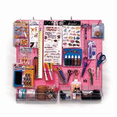 Craft Center and Scrapbook Organizer (Pink Frosted Pegboard)